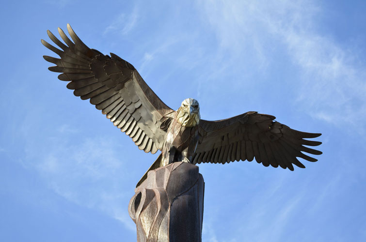 La-Crosse-Riverside-Park-Eagle-In-Blue-Sky