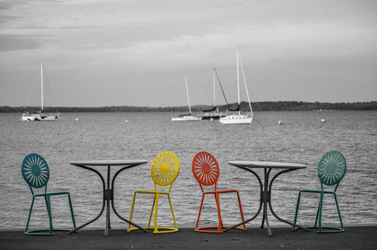 Madison-Lake-Mendota-Sunburst-Chairs-Fall-BlackandWhite